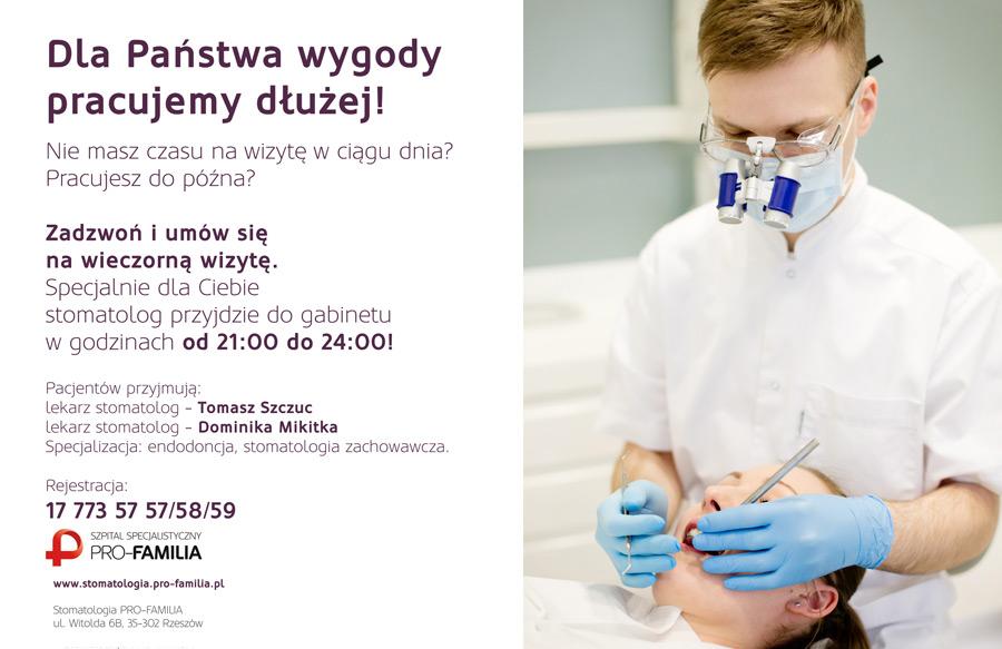 Specjalnie dla Ciebie stomatolog przyjdzie do gabinetu w godzinach od 21:00 do 24:00!